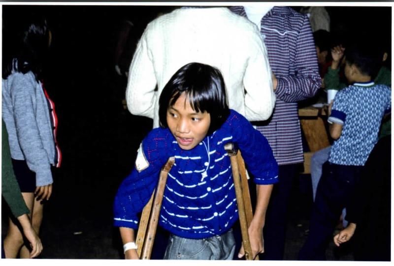 Vietnamese child on crutches<br />