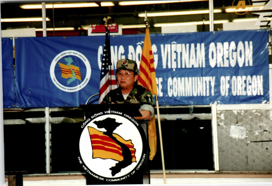 William Vuong giving speech