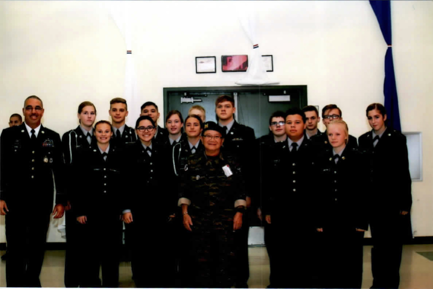 """Photo with cadets at Reynolds High School Cafeteria"""